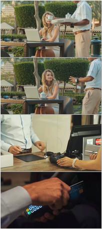 美女购物消费POS机刷信用卡视频