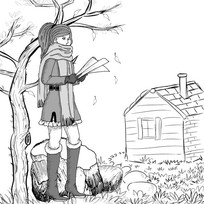 女孩树下看书插画设计 EPS