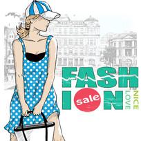 时尚女孩去购物插画设计