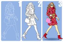 时尚女孩手绘过程图插画设计