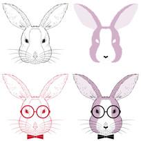 手绘兔子头像插画  EPS