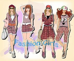 四个时尚女孩去购物插画设计