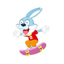 兔子玩滑板插画设计