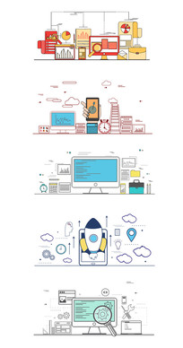 线条扁平商务金融科技引导启动系列图形图表
