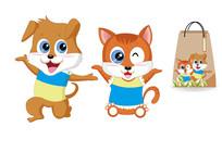 小猫小狗卡通形象设计