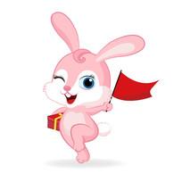 小兔子拿着红旗插画设计 EPS