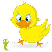 小鸭子捉小虫子插画