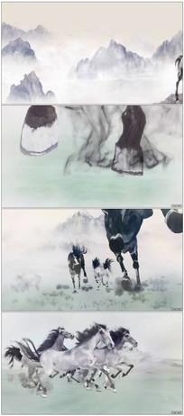 中国风水墨骏马奔跑出logo