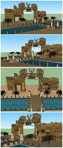 埃及公园大门SU模型