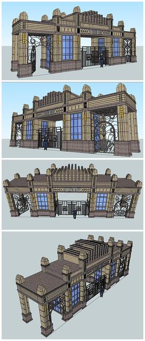 法式欧式古典风格建筑SU入口大门