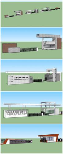 四套工厂厂区大门含传达室SU模型 skp