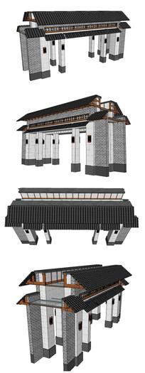 中式大门SU模型