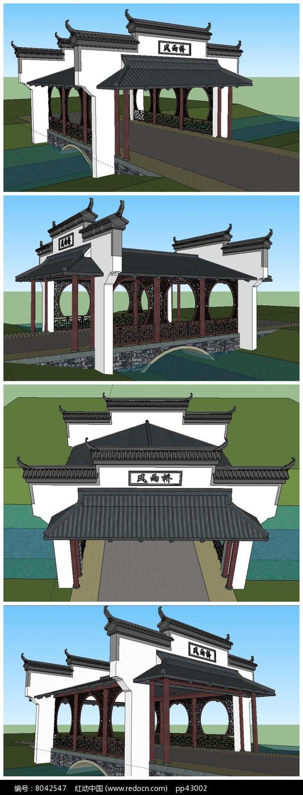 原创设计稿 3d模型库 围墙|栏杆|大门 中式古典风格大门su模型  请您图片