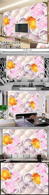 3D软包玫瑰花客厅电视背景墙图片