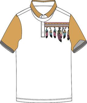 彩色羽毛印花图案T恤