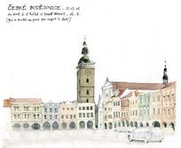 高塔景观建筑手绘