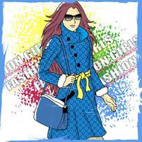 个性时尚女孩背着背包插画设计