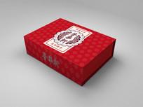 红色中国风花纹包装