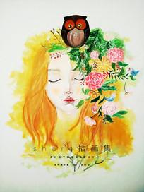 花儿与少女插画