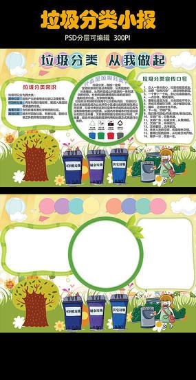 垃圾分类环保低碳手抄小报PSD模板 PSD