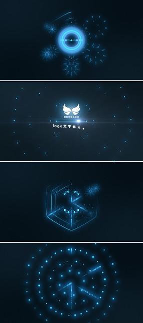 蓝色科技粒子光点汇聚logo演绎ae模板