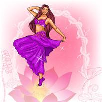 梦幻背景下的跳肚皮舞的女孩插画设计
