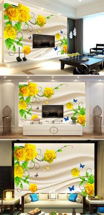 现代简约黄玫瑰花朵客厅电视背景墙图片