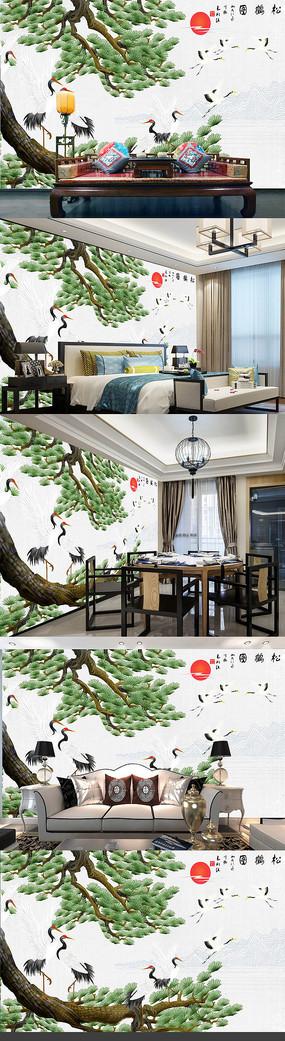 云中白鹤中式电视背景墙装饰画