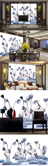 高清巨幅新中式水墨仙鹤朝阳艺术背景壁画