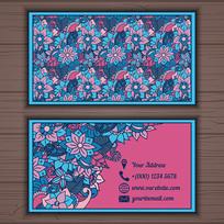 蓝紫色花纹名片模板