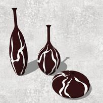 流线型条纹花瓶