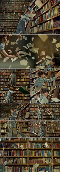 图书馆书架纸张飘落高速摄影慢动作视频素材
