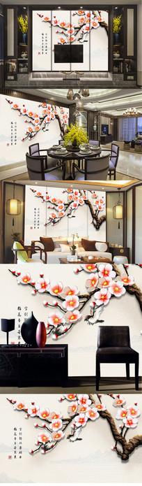 新中式3D立体梅花手绘电视背景墙