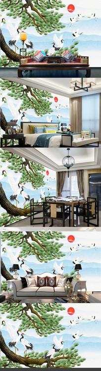 新中式云中白鹤电视背景墙装饰画