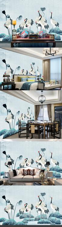 新中式中华仙鹤壁画电视背景墙