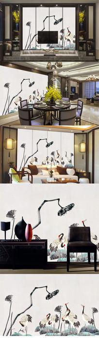 新中式中华仙鹤电视背景墙