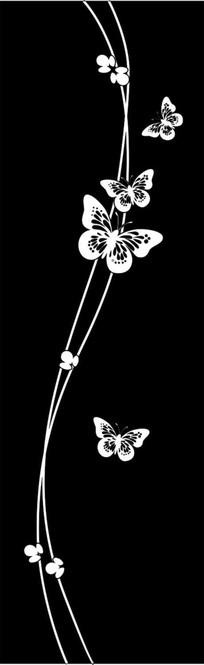 蝴蝶飞舞雕刻图案