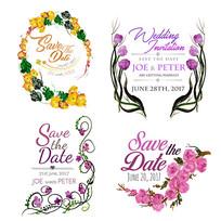 水彩花卉婚庆用品桌牌素材