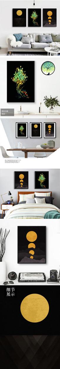 新中式创意树无框画装饰画