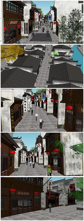新中式古典风格商业街SU模型