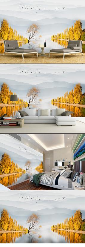 新中式水墨意境画黄金树背景墙