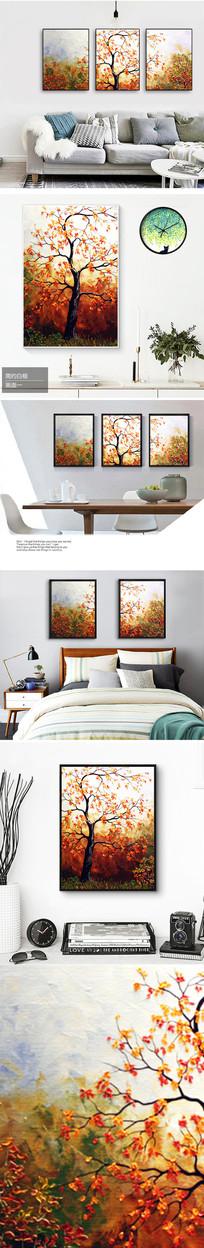 新中式唯美大树树叶装饰画