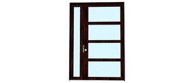 玻璃木框架门模型