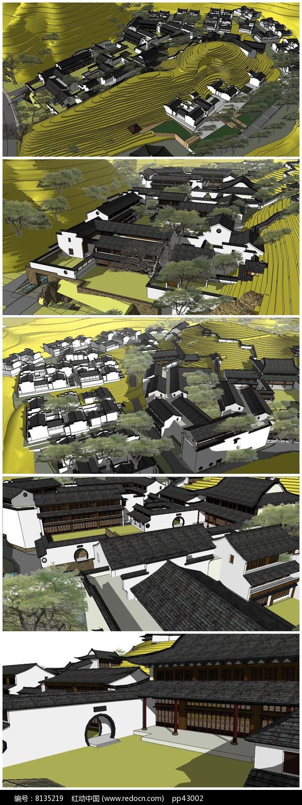 徽派古建建筑群落建筑规划SU模型图片
