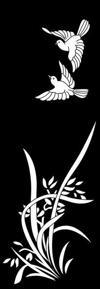 兰花鸟雕刻图案 CDR
