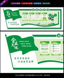 绿色旗帜企业文化墙效果图设计