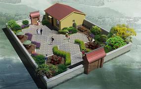 庭院建筑青石铺装 精美中式庭院设计 别墅庭院园路 建筑庭院景观铺装图片