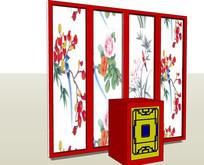现代中式屏风展示柜台