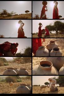 干旱小鹿喝水视频