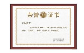 荣誉证书优秀员工奖状模版图片